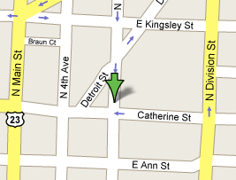 Google map pointing to center of Ann Arbor