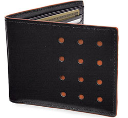 Black and orange J Fold wallet